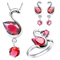 Good quality hot-sale silver jewelry sets rhodium plated
