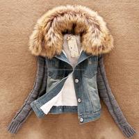 ladies winter coats long sleeve jeans jacket clothes women apparel 2016 winter fur coats 5XL plus size winter coat
