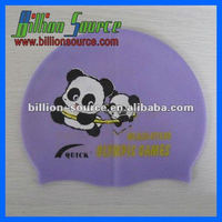 Printing Cute pattern Elastic silicone swim caps with naughty panda