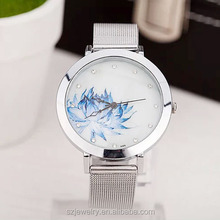 Chinese Painting Lotus Face Quartz Watches Women Alloy Belt Chinese Wrist Watch