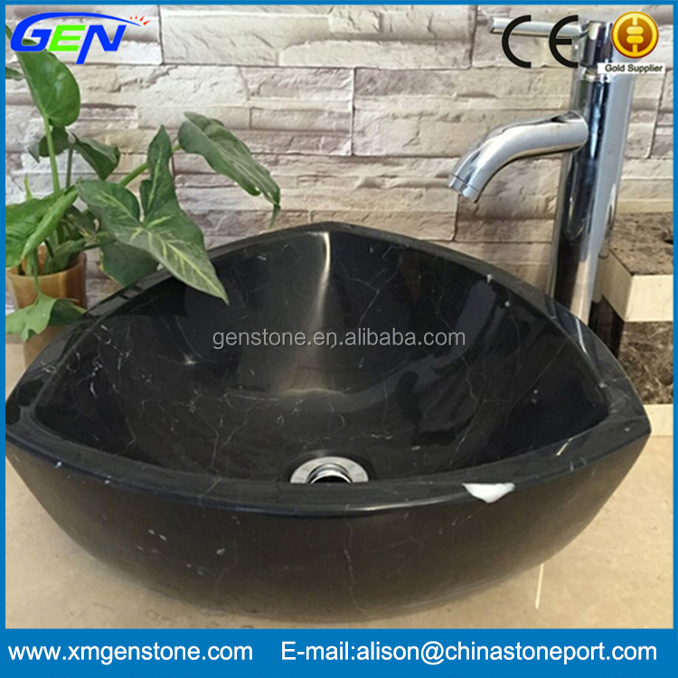 New Design Indoor Bathroom Small Black Marble Wash Basin