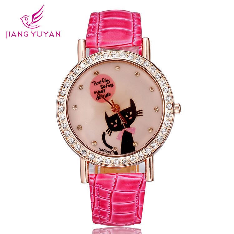 Digital watch Watches women luxury brand rose gold pu leather strap crystal rhinestones cute cat fashion casual designer