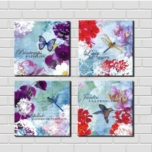 Modern Art Print 4 Panel Framed Oil Painting Orchid Butterfly Bird Dragonfly Canvas Modern Paintings