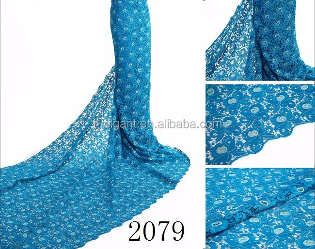 Nigerian styles cord lace latest blue fashion dress making guipure lace on sales