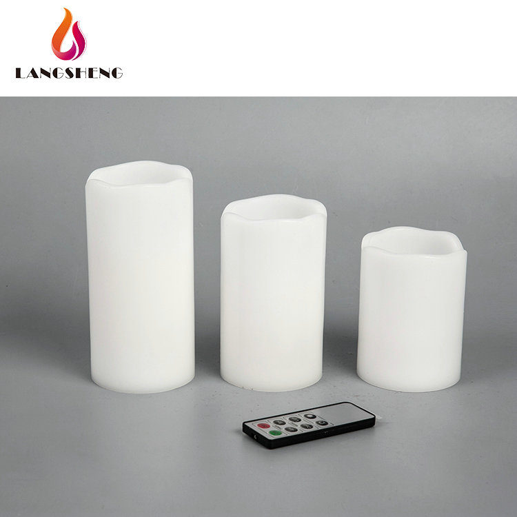 New design fashion low price intelligent light white led pillar candle