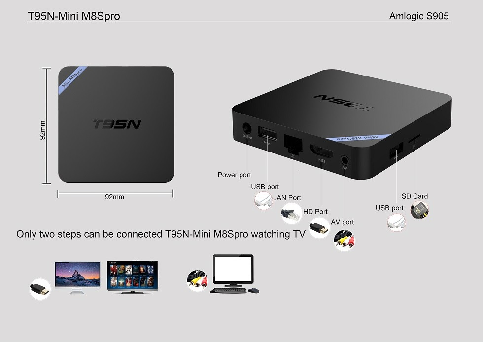 google android 5.1 smart tv box install free play store app android tv box T95N
