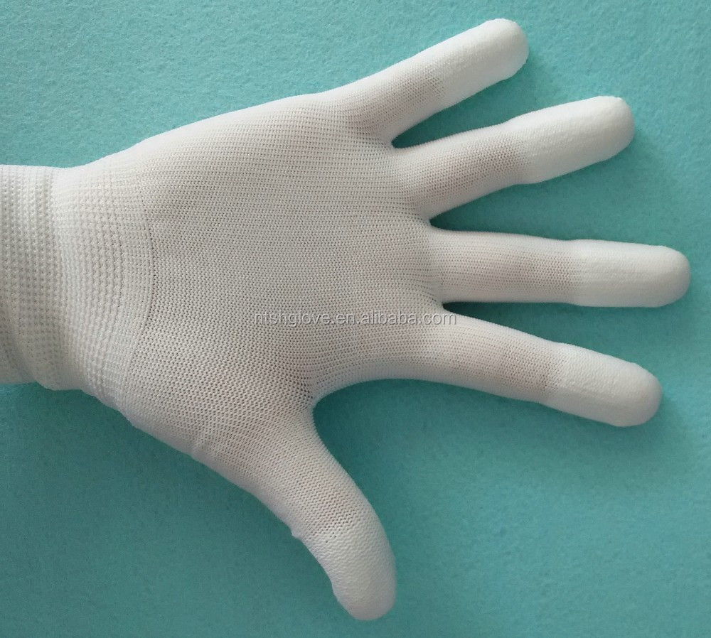 13 <strong>g</strong> PU Top fit gloves for cleanroom PU finger coated gloves in stock