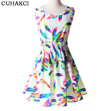 2017 Women Summer Colorful Feather Print Dresses Elegant Chiffon Pleated Sleeveless Dress Party