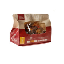 Fresh deli to go hot roasted chicken paper bag with clear window