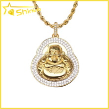 hot sale buddha pendant micro pave cz pendant gold plated jewellery