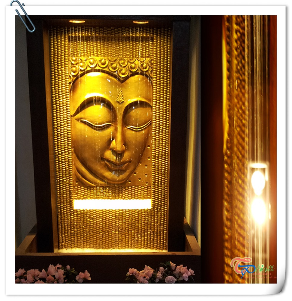 Polyresin Large Waterfall Indoor Buddha Face Fountain