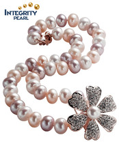 Charming flower pearl necklace11-12mm AAA near round mixed color latest design pearl necklace