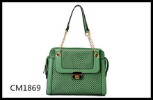grass green perforated ladies tote bag with flap