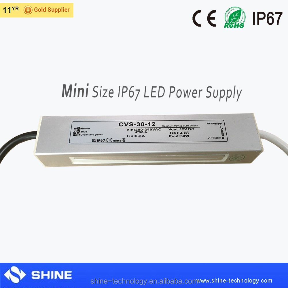 Aluminum housing waterproof powersupply 12v/24v led transformer 30w led driver