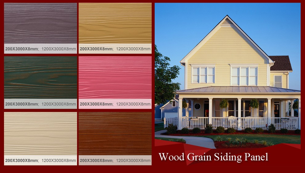 Colorized wood grain exterior siding board wood grain for Wood grain siding panels