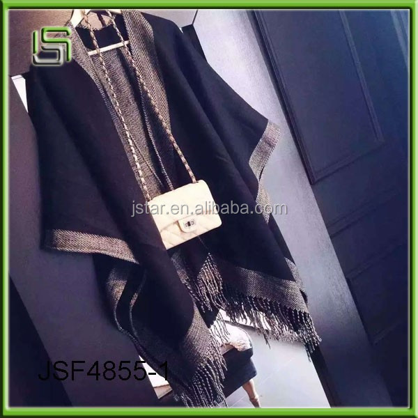 Autumn and winter classic black double-sided large shawl women warm scarves