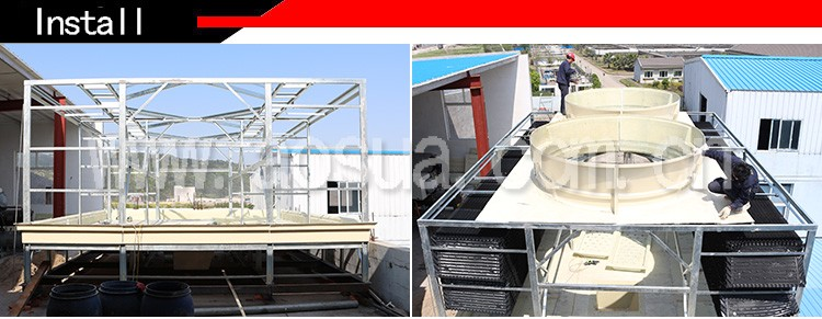 600T FRP low noise single fan cross flow box types of cooling tower