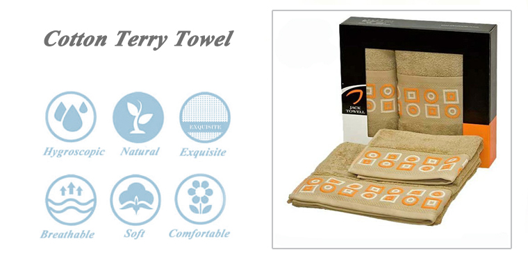 Fashion solid color dobby embroidery bath cotton towel in gift box