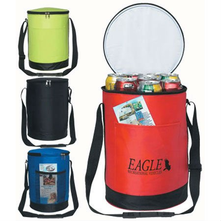 70D nylon Round cooler bags for beer bottles and drinks cans with adjustable shoulder straps