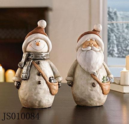Terracotta Snowman and Santa claus decoration, 2016 New Christmas ceramic decoration
