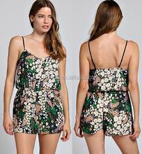 women ladies DAISY FOREST PRINT CHIFFON CAMI ROMPERS