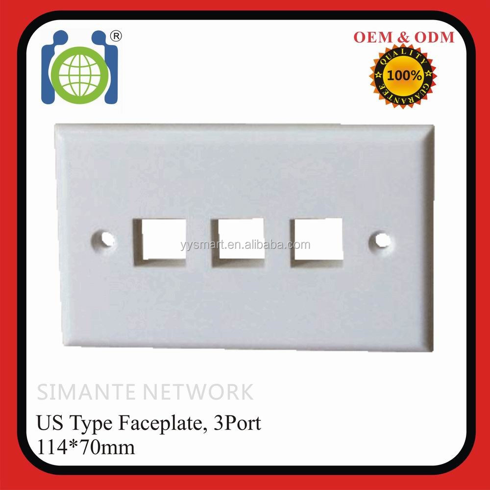 rj45 America cable face plate Network 3 ports keystone wall plate