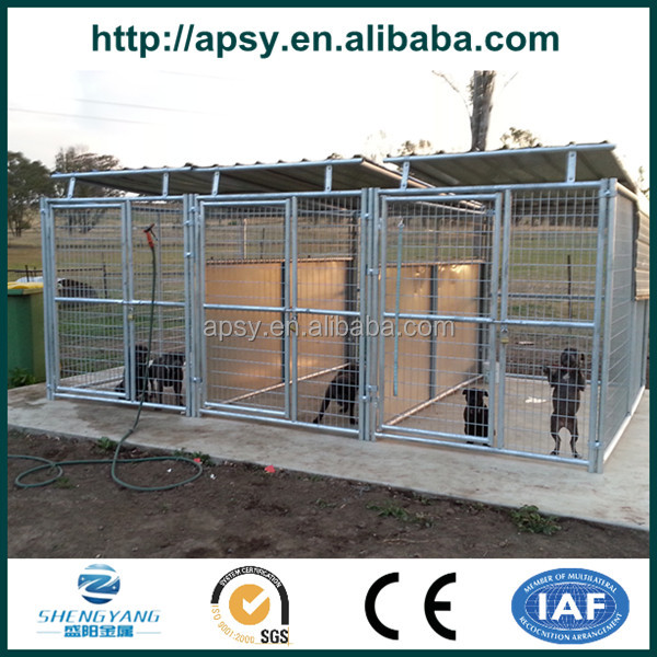 Hot sell 3 runs outdoor feed kennel dog enclosure