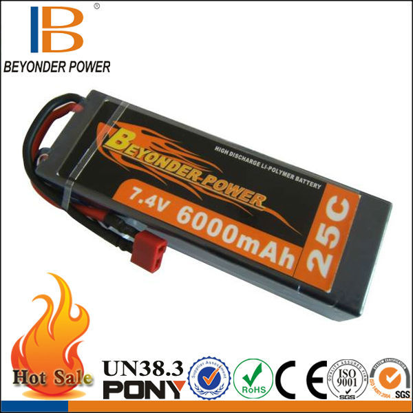 Beyonder Power hard case 10v battery for toy car pack for airplane/car/toy with high discharge rate 25C, 6000mAh 7.4V