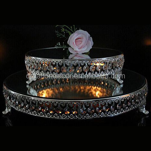 Metal mirror crystal wedding cake plate cake decoration display stand
