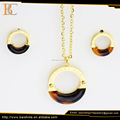 classic resin circle custome jewelry earrings and necklace sets stainless steel
