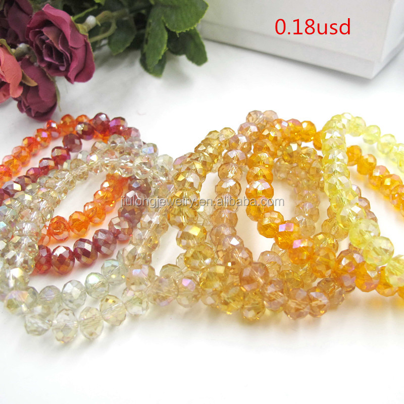 8mm rondelle glass bead bracelet fashion women charm bead bracelet