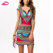 Women Summer Casual Short V-neck Ladies Sexy Dress Traditional Print Mini Womens Beach Dress