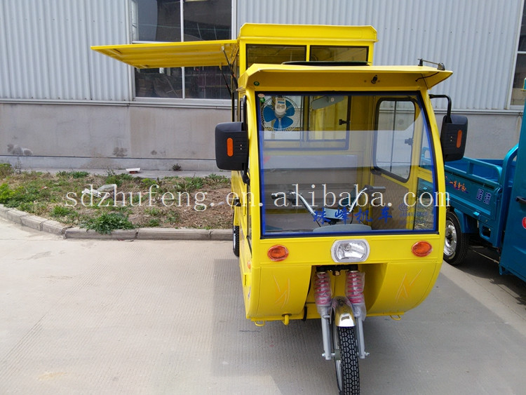 High speed mobile electric tricycle food selling dining car