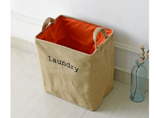 Eco friendly jute collapsible laundry basket hamper