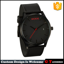Wholesale Black Case Cool Simple Design Watch Gilfts Leather Wrist Watches