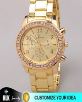 NEW DESIGN GOLD PLATED WRIST WATCH UNISEX GOLD PLATED WRIST WATCHES WHOLESALE STAINLESS STEEL BAND