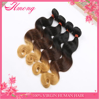 Colored Three Tone Human Unprocessed Real Mink Brazilian Hair Ombre Hair Weave