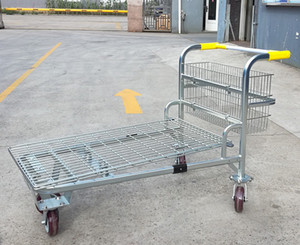Heavy-duty metal storage platform cargo trolley with large capacity