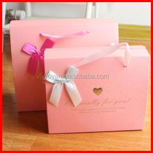 Elaborate Solid Pink Custom Logo Paperboard Gift Packaging Box With Ribborn Wholesale
