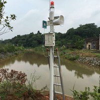 three level flood water monitoring system with solar panels