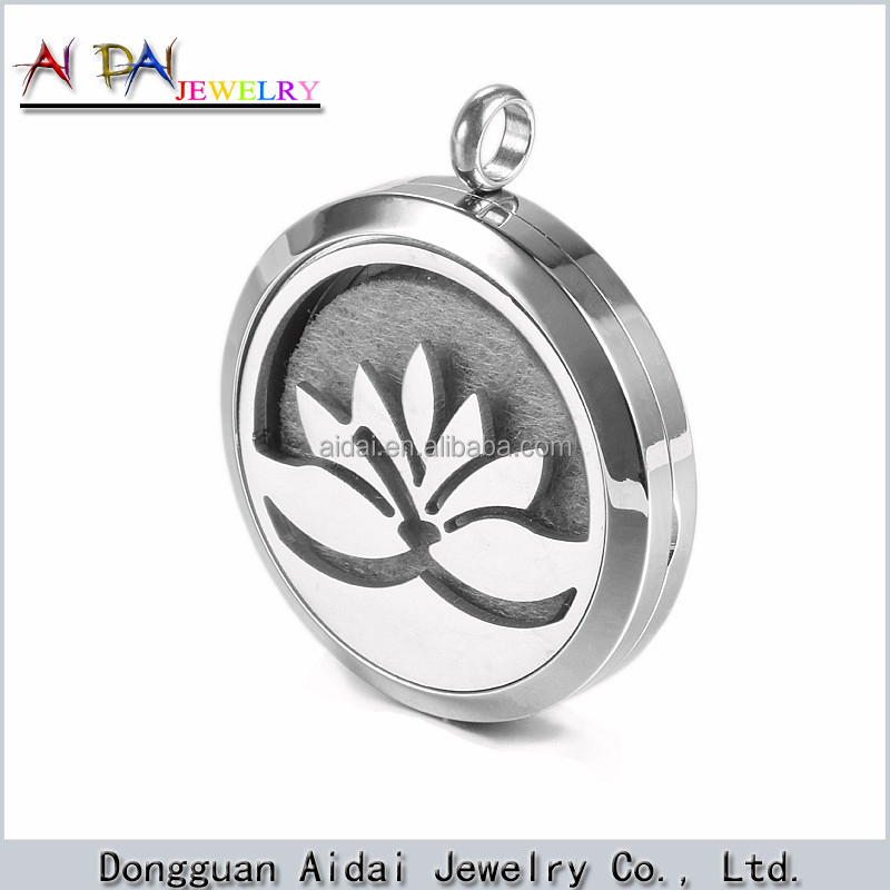 new lotus stainless steel locket natural aroma flower diffuser
