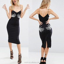 Anly new design hot selling dress for women skeleton hands print sexy custom costume dress