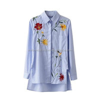 2017 NEW Blue Stripe Women Embroidered patch shirt Blouse Long Sleeve Flower Rose Tops