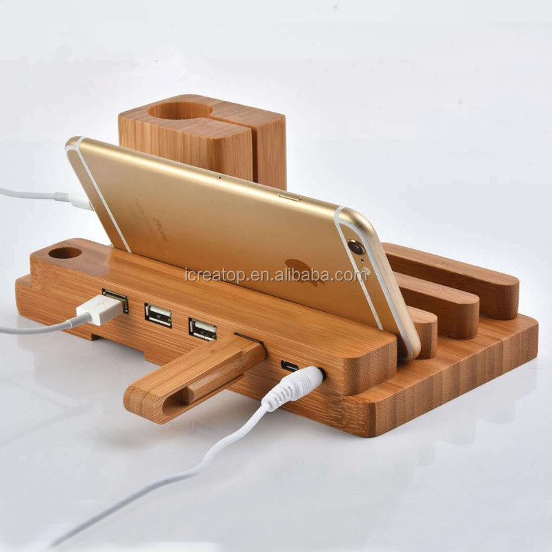 Eco-Friendly Multi-Device Charging Station Stand Desktop Organizer Compatible with USB Charger for Smartphones and Tablets