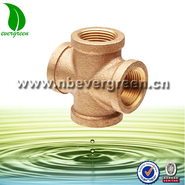 Superior quality female thread brass equal cross for pipe fitting