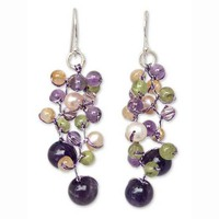 Pure Handmade Purple Silk Threads Piercing Dangle Pearl Amethyst Earring