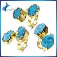 Natural Crystal Quartz Druzy Ring natural gemstone ring