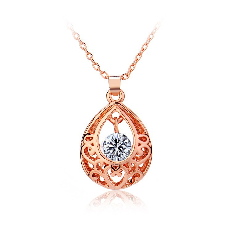 National Style Hollow Set Auger Rose Gold And Platinum Plated Boutique Necklace