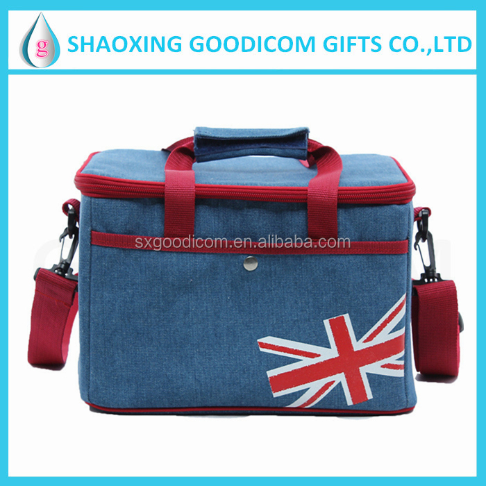 Large capacity denim fabric cooler bag high quality fashion picni bag