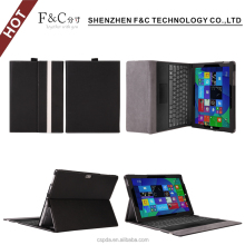 Eco-friendly pu leather flip case for microsoft surface pro 4 with pen holder